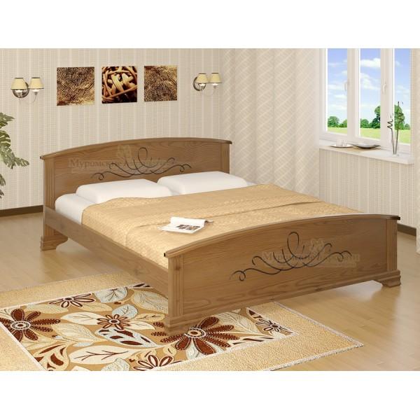 """""""Нова"""" с рисунком кровать из дерева"""