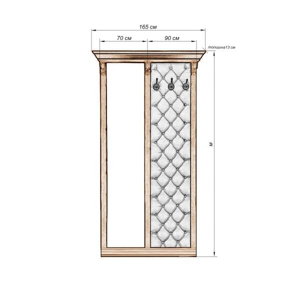 """Стеновая панель с зеркалом 1 из серии """"Тунис-05"""""""
