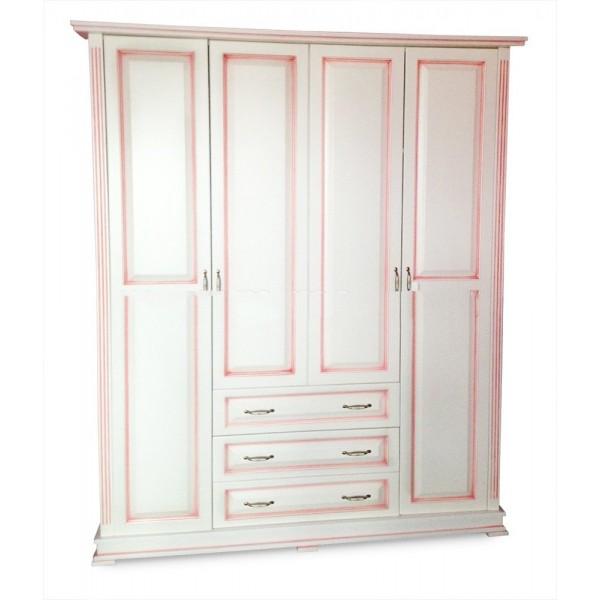 """Шкаф четырехстворчатый со встроеннным комодом (розовая патина) """"Кардинал-9"""""""